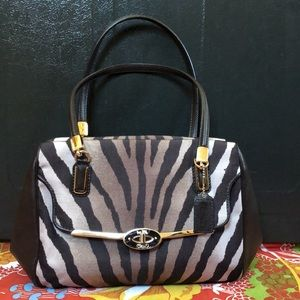 Coach Madison Zebra Print Satchel Bag 26634